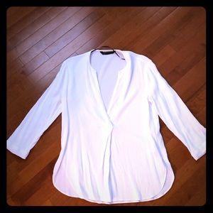 Zara white 3/4 length shirt